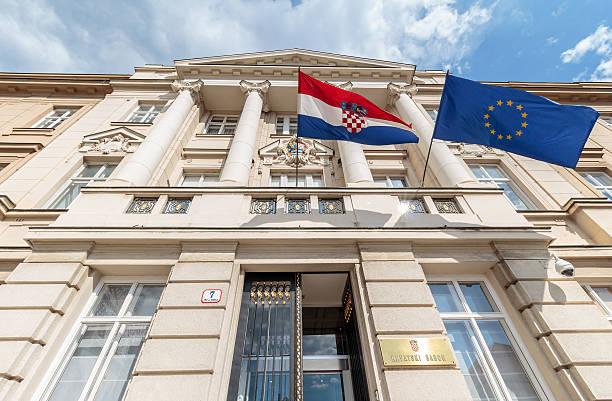 Croata y bandera europea. - foto de stock