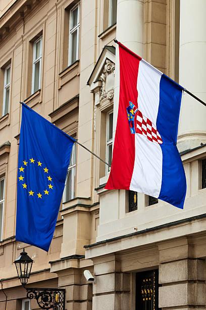 Croata y Banderas de la Unión Europea - foto de stock