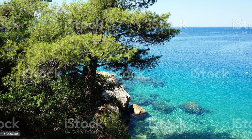 Croatian beach Croatian beach at sunny day, Omis, Croatia Adriatic Sea Stock Photo