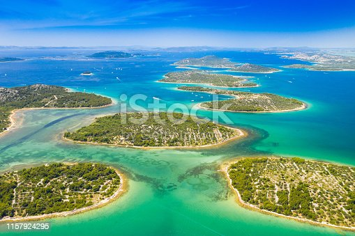istock Croatian coast, islands aerial view in Murter archipelago 1157924295