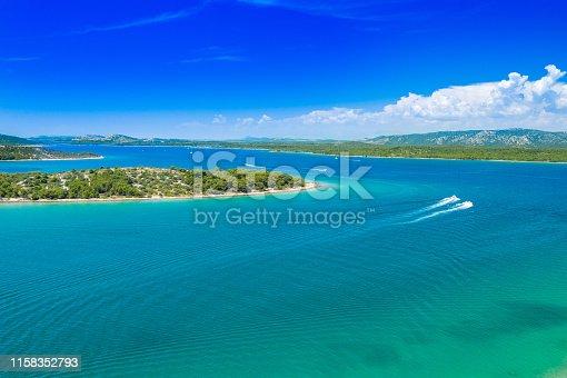 istock Croatian coast, stone islands aerial view in Murter archipelago 1158352793