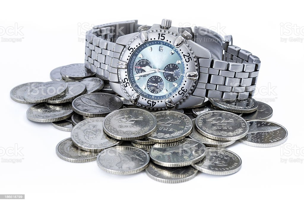 Croatian coins with wristwatch royalty-free stock photo