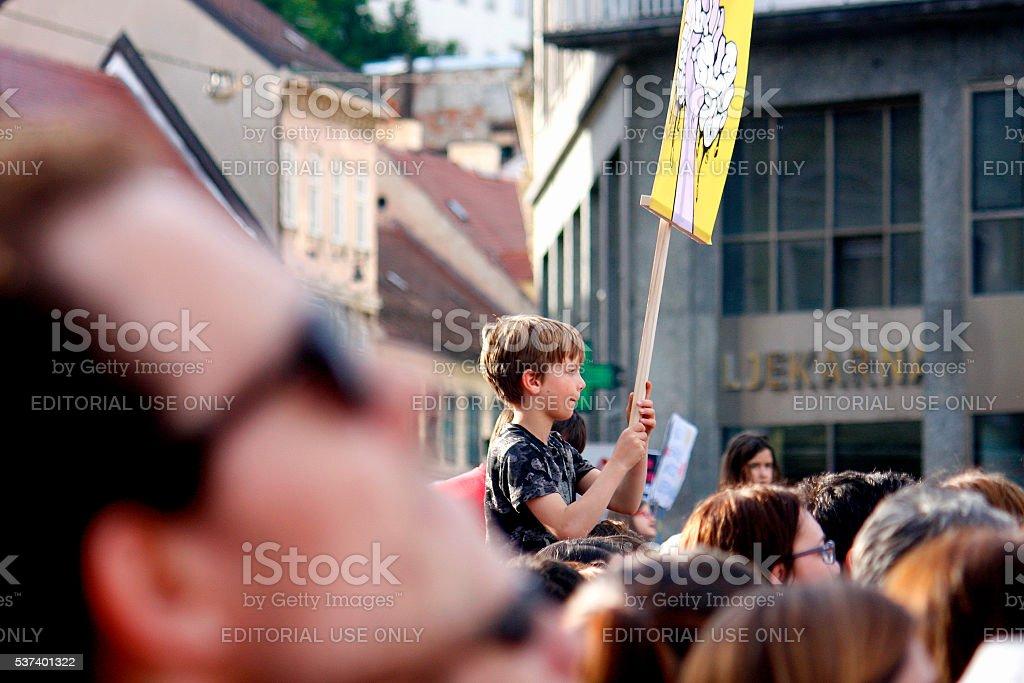 Croatian Education Reform Protest in Zagreb stock photo