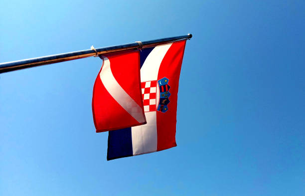 Croatian flag and diving – zdjęcie