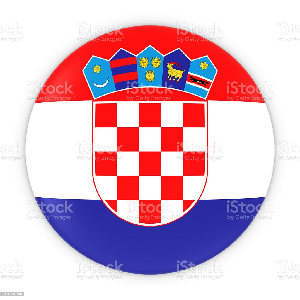 Croatian Flag Button - Flag of Croatia Badge 3D Illustration - foto stock
