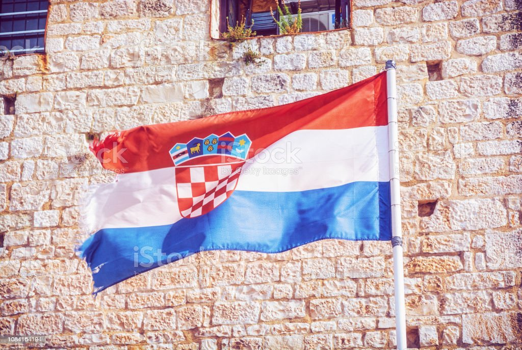 Croatian flag on stone background - foto stock
