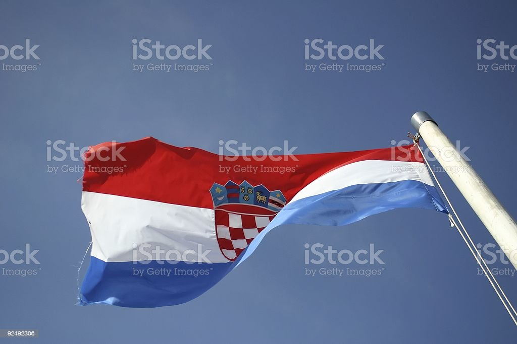 Croatian flag waving in the sky royalty-free stock photo