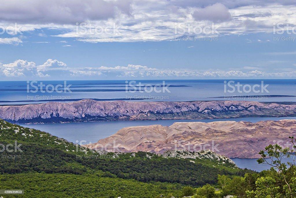 Croatian islands aerial view from Velebit stock photo