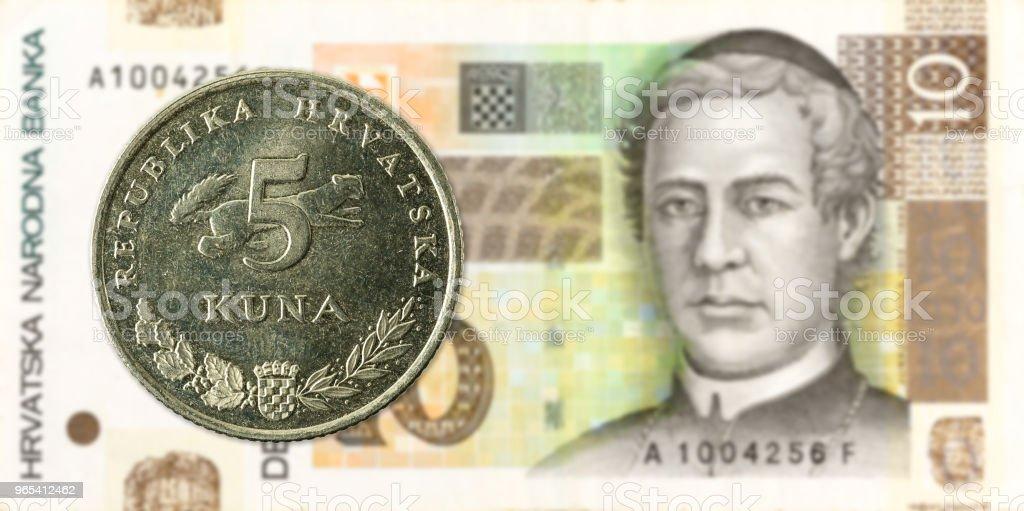 5 Croatian Kuna Coin Against 10 Croatian Kuna Bank Note