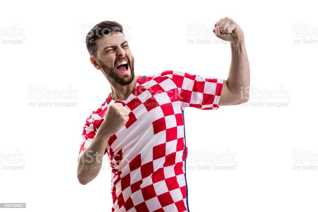 Croatian male athlete / fan celebrating on white background - foto stock