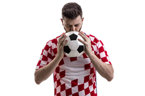 Croatian male athlete / fan celebrating on white background sport collection croatian culture stock pictures, royalty-free photos & images