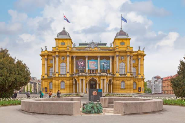 Croatian National Theatre in Zagreb stock photo