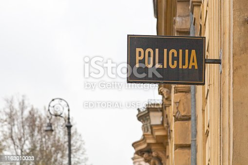 Zagreb, Croatia - April 12 2019: Police sign on top of a police station main entrance in the city center.