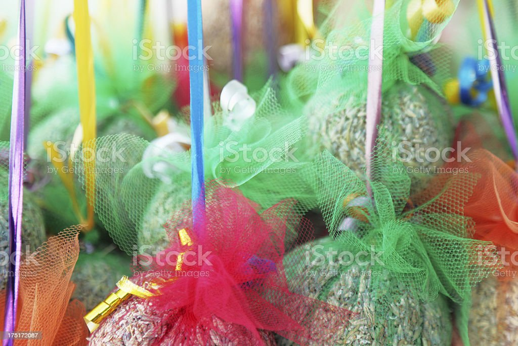 Croatian shop with colourful lavender bags royalty-free stock photo
