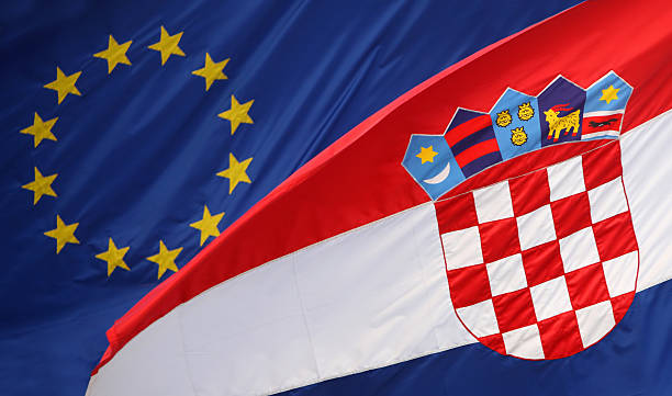 Croatian with Eu flag stock photo