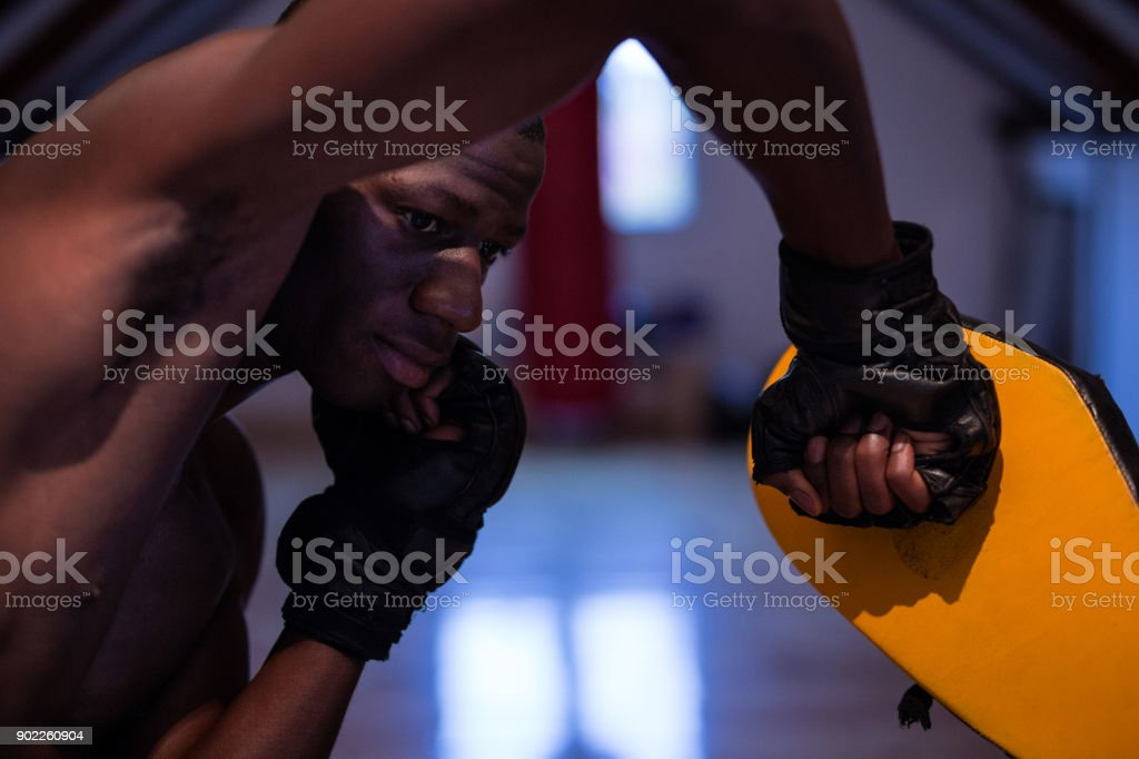 Young Handsome African Boxer Practicing Crochet With His Young...