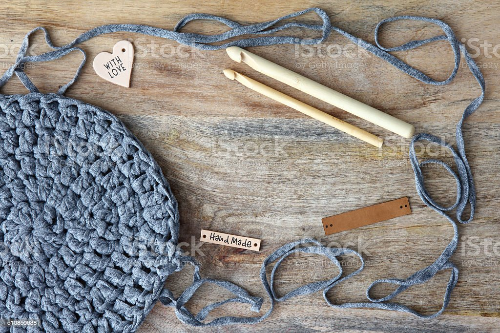 Crochet Background With Copy Space stock photo