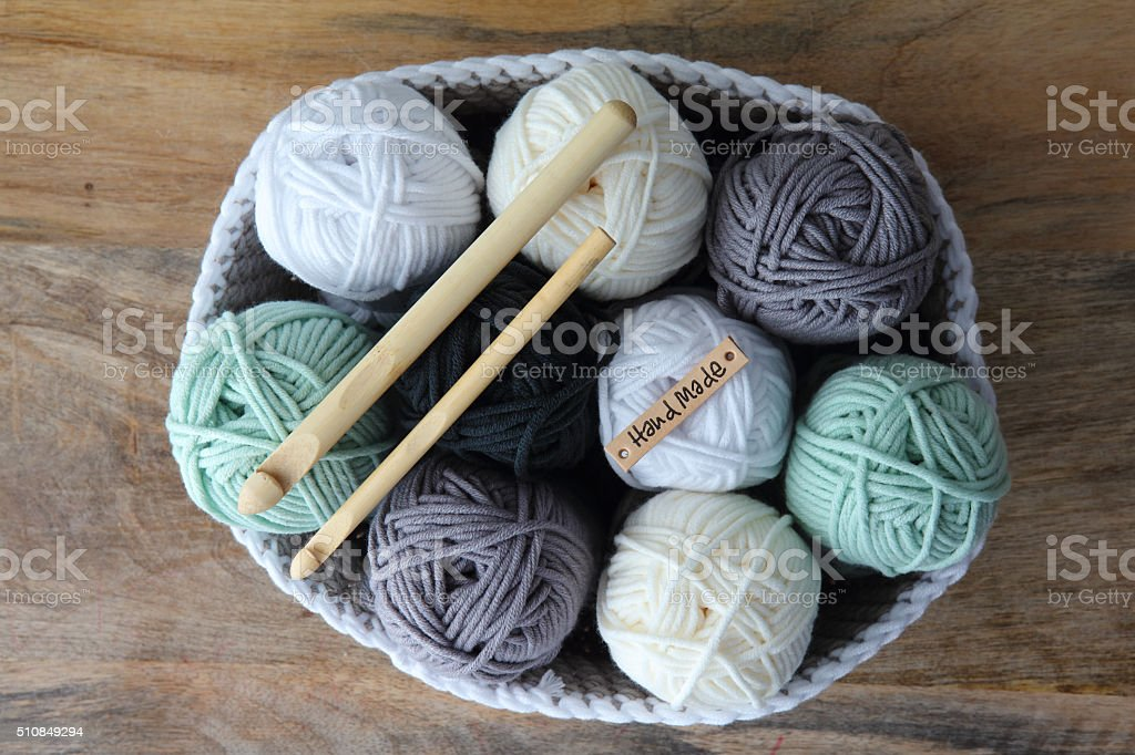 Crochet Basket With Balls Of Wool And Crochet Hooks stock photo