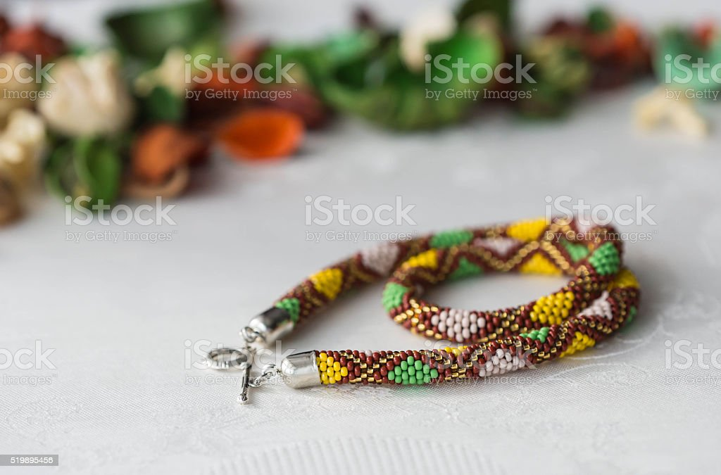 Crochet Beaded Necklace With Rhombus Pattern Of The Textile