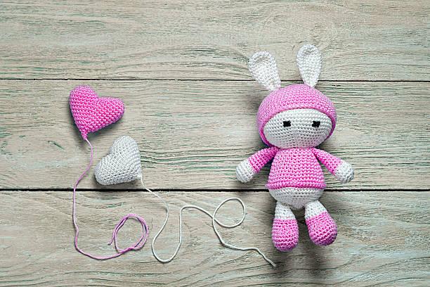 crochet bunny toy - nähpuppen stock-fotos und bilder