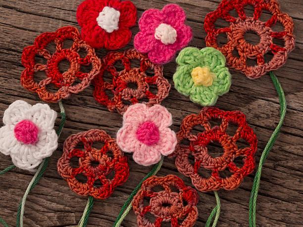 crochet flowers stock photo