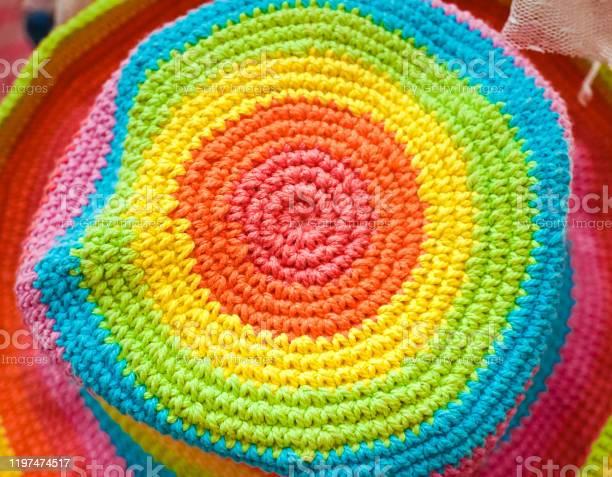 Crochet hat a closed up pattern of a crochet hat in rainbow color top picture id1197474517?b=1&k=6&m=1197474517&s=612x612&h=t 4tzsyly8z3wwpdnzyuwryy6aptt7xcg28cthnua1c=