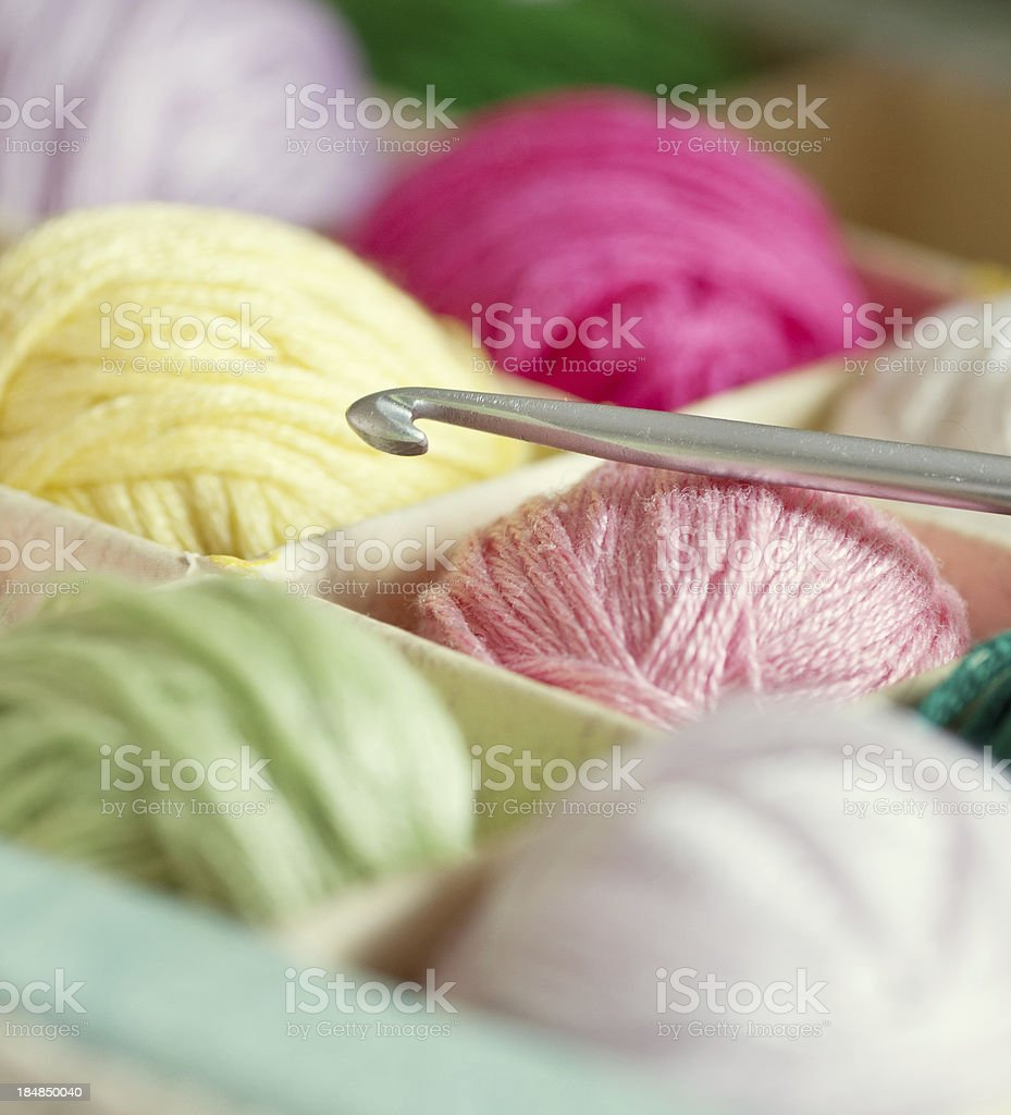 Crochet hook and colourful threads stock photo