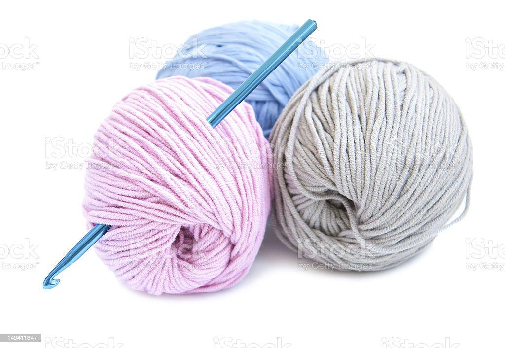 Crochet hook and yarn royalty-free stock photo