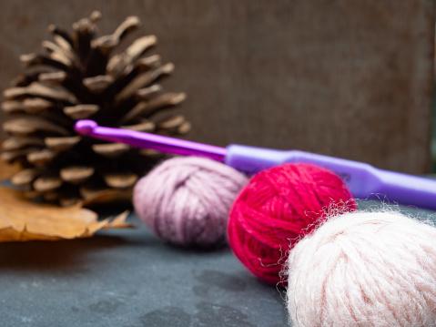 Crochet hook with autumn decoration