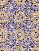 Crochet lace ground made of circular motifs.