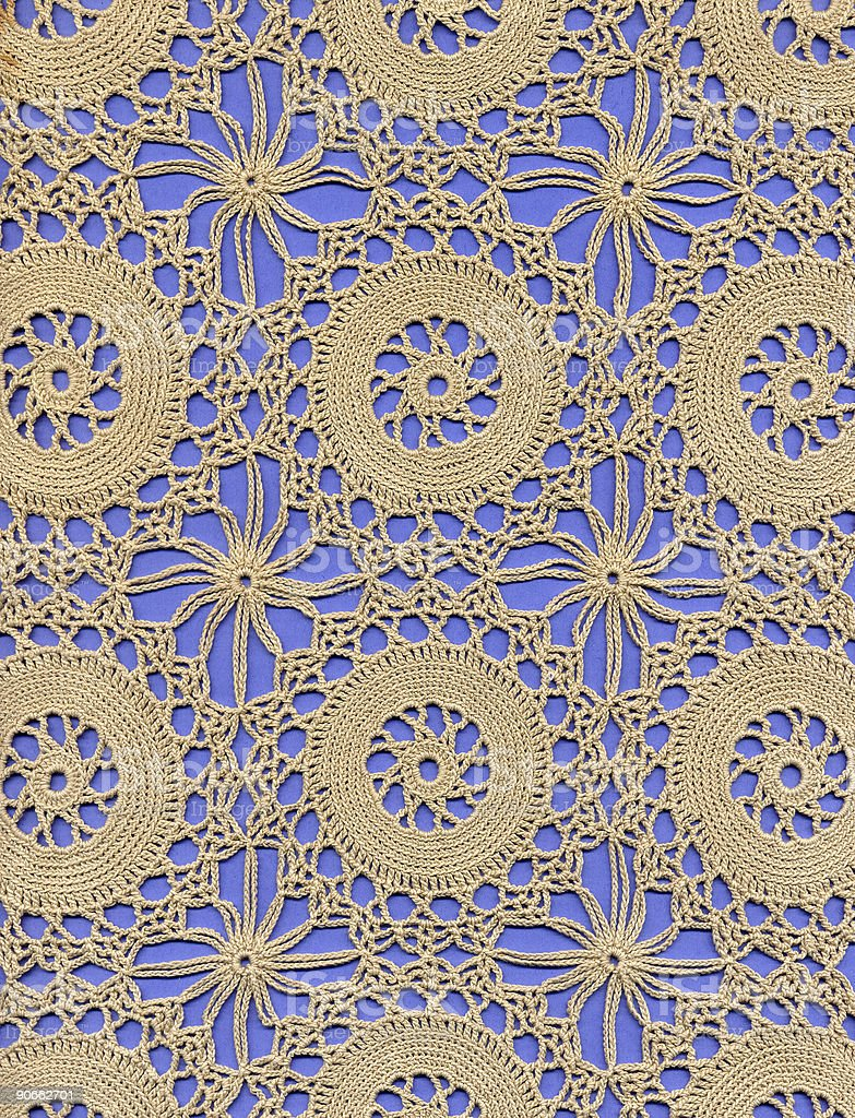 crochet lace ground with circles stock photo