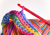 Crochet Hook and Wool / selective Focus