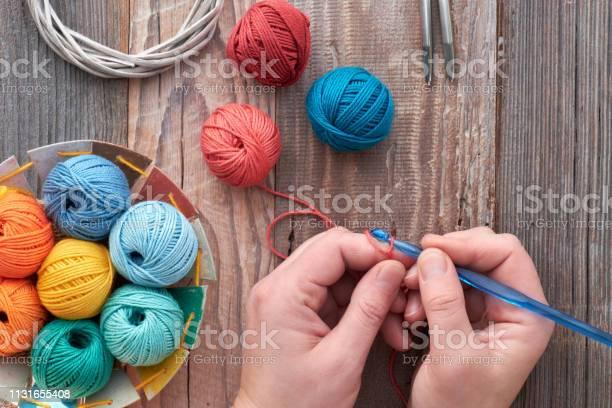 Crochet top view on hands with crochet hook and yarn balls top view picture id1131655408?b=1&k=6&m=1131655408&s=612x612&h=2agezinasa cr62n8jxdwbegsjdfozrcqp zbfpuvio=
