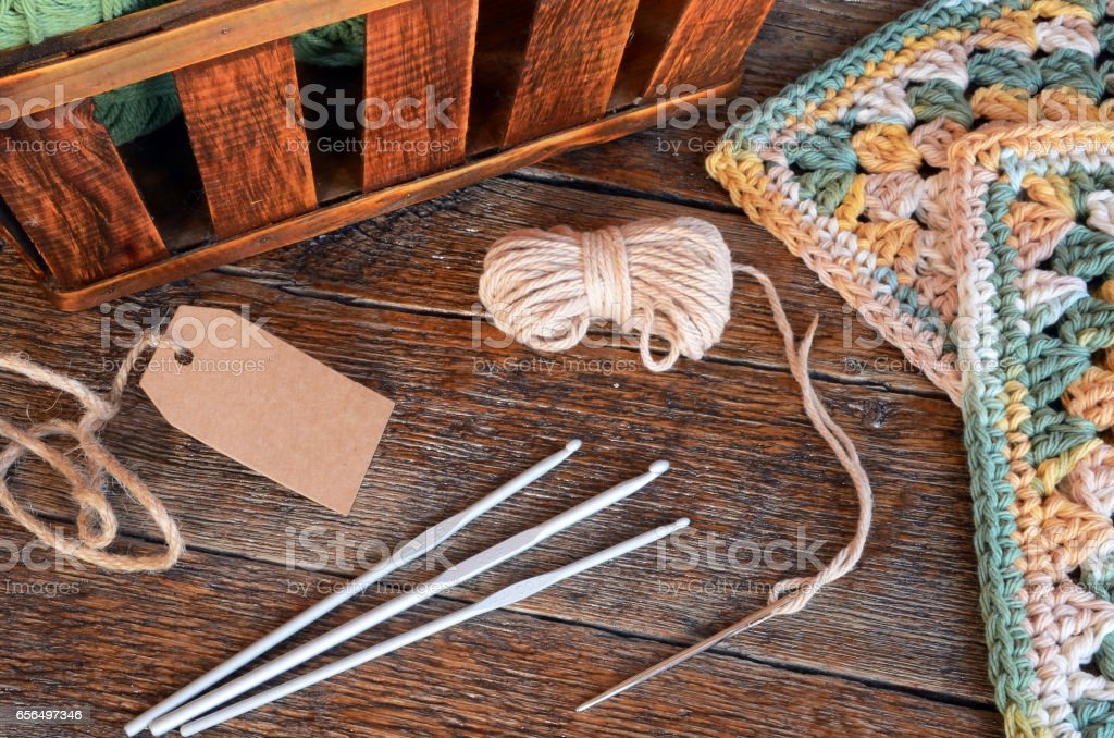 Crochet Yarn and Crochet Hook stock photo