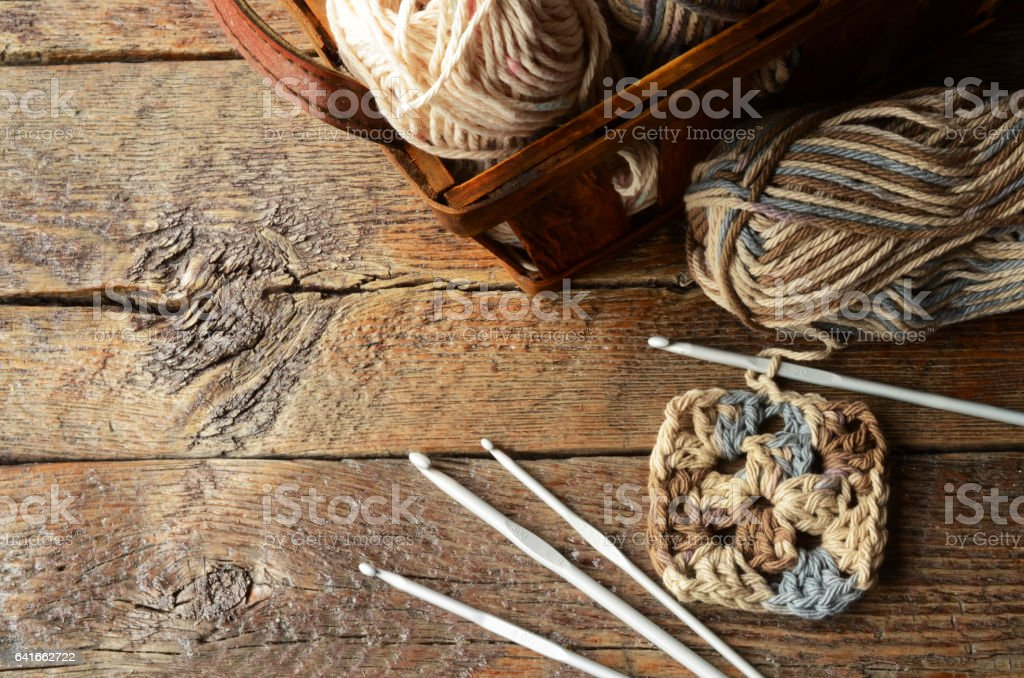 Crochet Yarn and Crochet Hooks stock photo