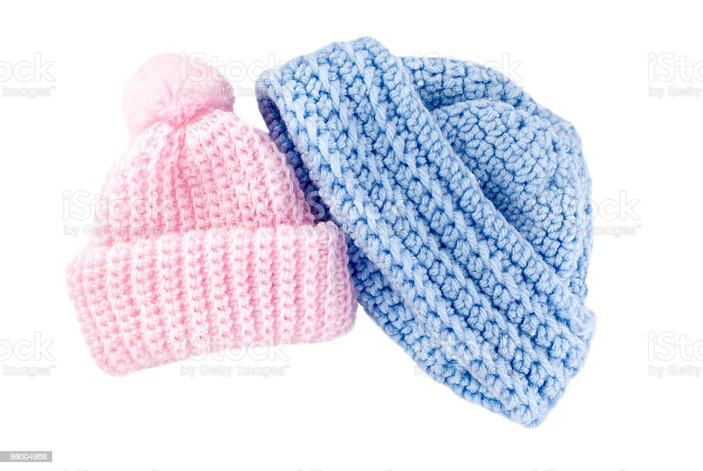 Crocheted Baby Hats for Boy and Girl royalty-free stock photo