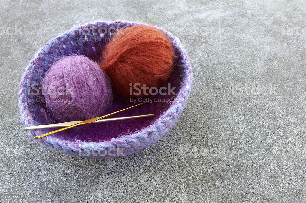 Crocheted Basket with Yarn royalty-free stock photo