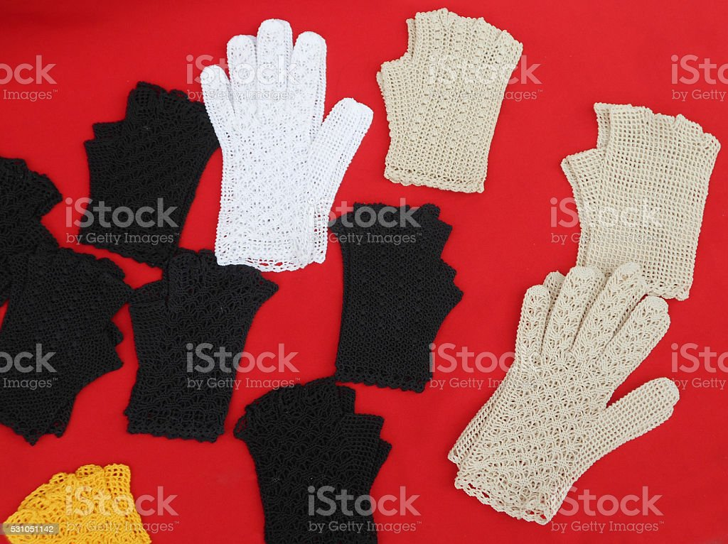Crocheted gloves stock photo