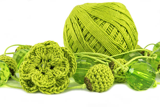 crocheted olive beads stock photo