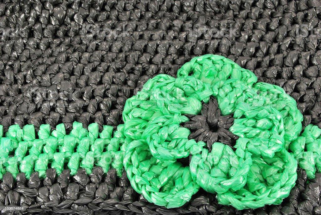 crocheted plastic bag decoratin royalty-free stock photo