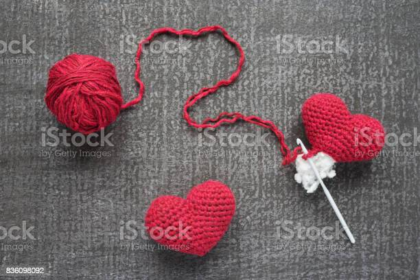 Crocheted red hearts on a grunge board picture id836098092?b=1&k=6&m=836098092&s=612x612&h=08tmnvxwhajt07wjvswko7vt rrgrkw h4 n3nuhyks=