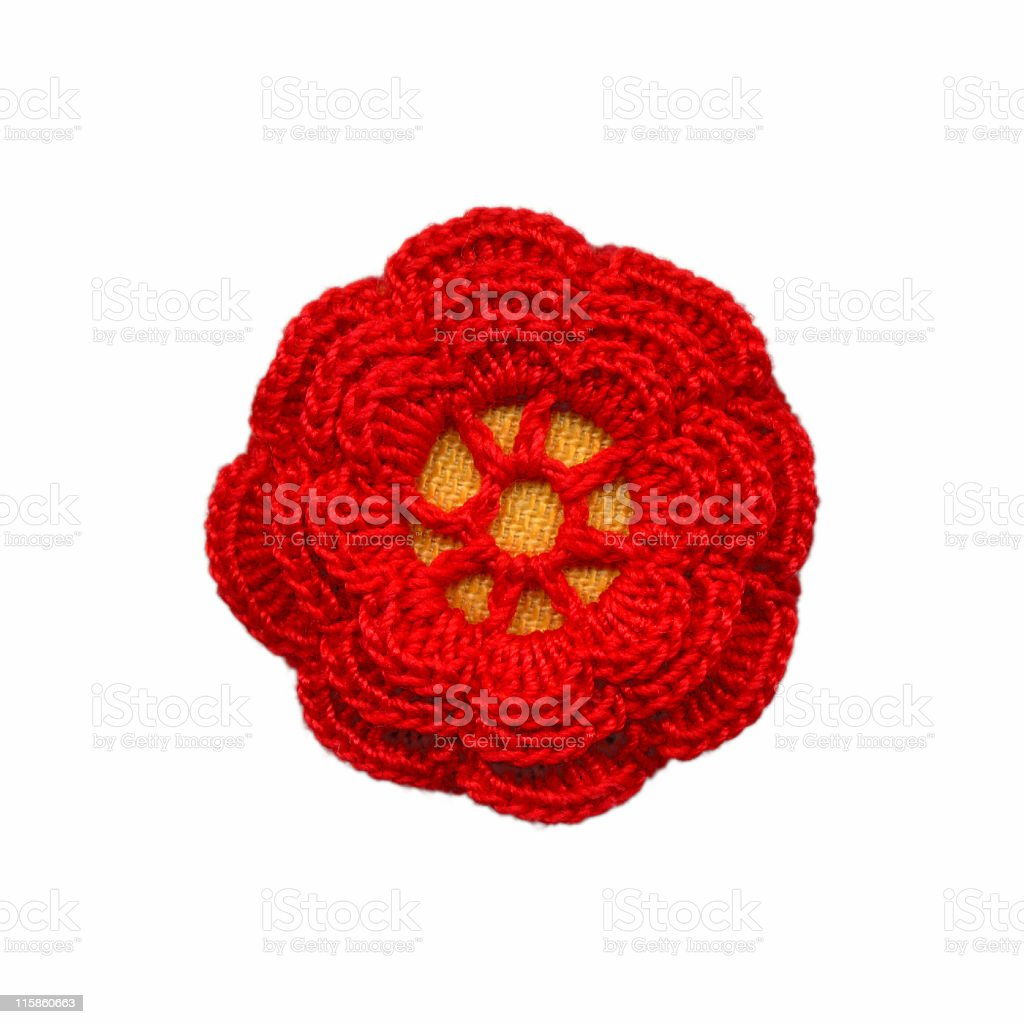 crocheted red rose royalty-free stock photo
