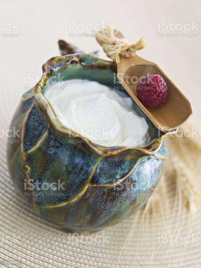 Crock of Greek Yogurt stock photo