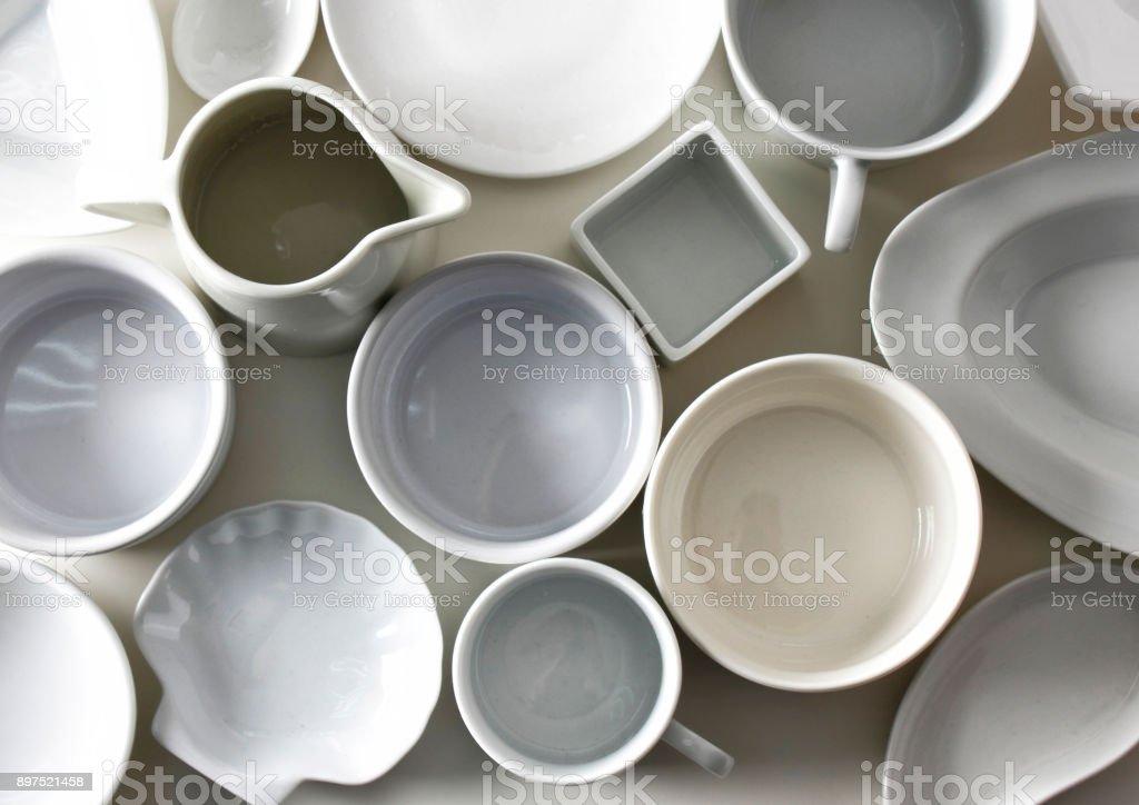 Crockery background stock photo