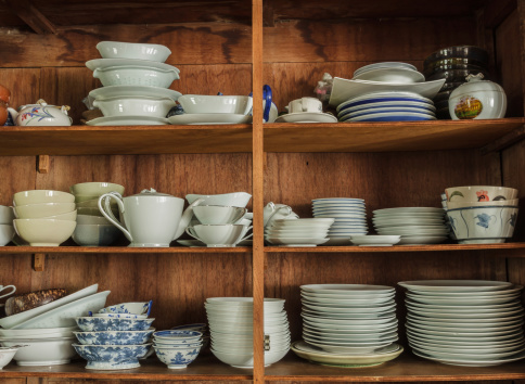 Crockery in the wood larder