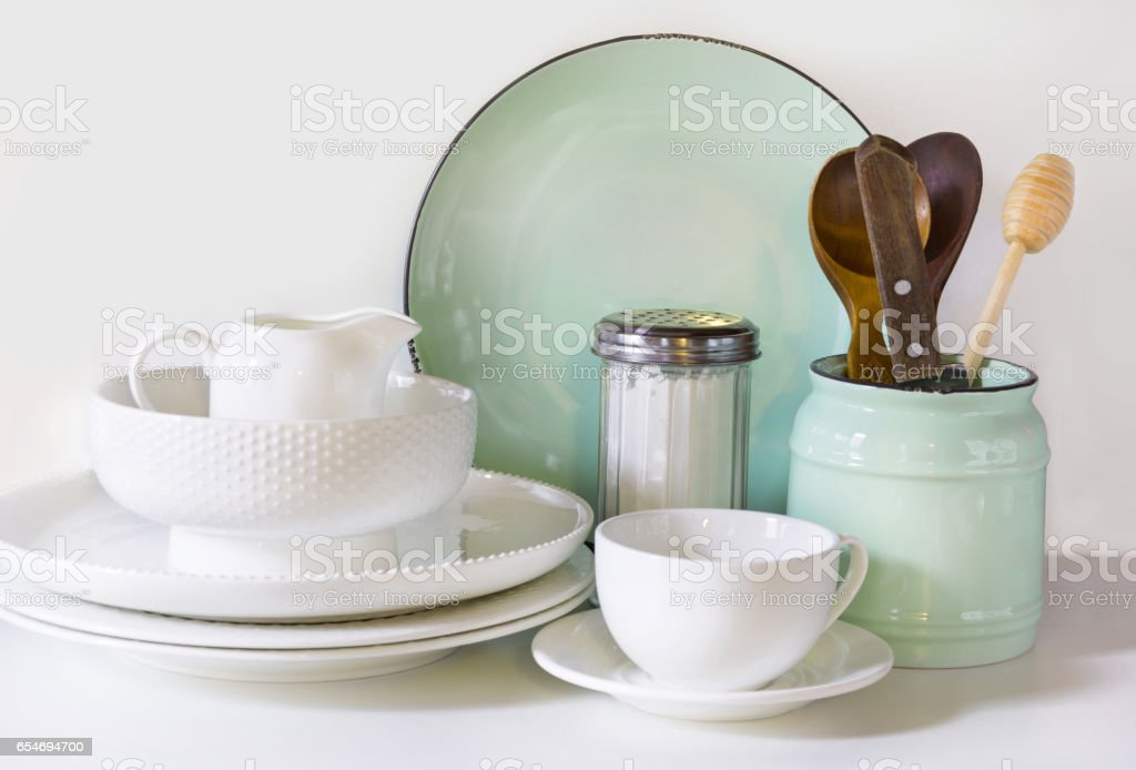 Crockery Tableware Utensils And Other Different White And Turquoise