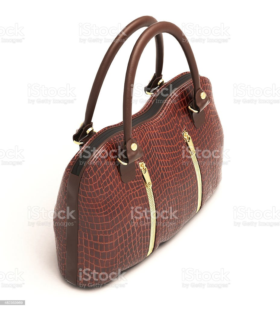 Crocodile leather handbag isolated royalty-free stock photo