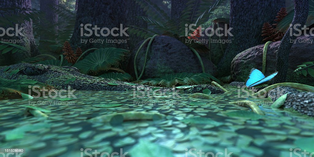 Crocodile watching buttefly royalty-free stock photo