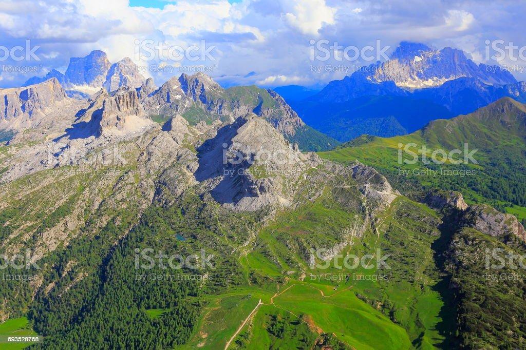 Croda da Lago and Mount Civetta from Idyllic Lagazuoi summit panorama, Cinque Torri Dolomites, pinnacles mountain range, dramatic and majestic Italy tirol alps stock photo