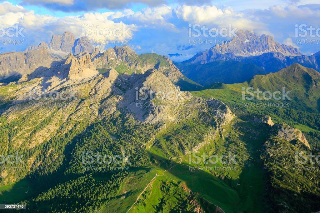 Croda da Lago and Mount Civetta from Idyllic Lagazuoi summit panorama, Cinque Torri Dolomites, pinnacles mountain range, dramatic sky and majestic Italy tirol alps stock photo